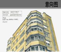 平顶高层建筑手绘