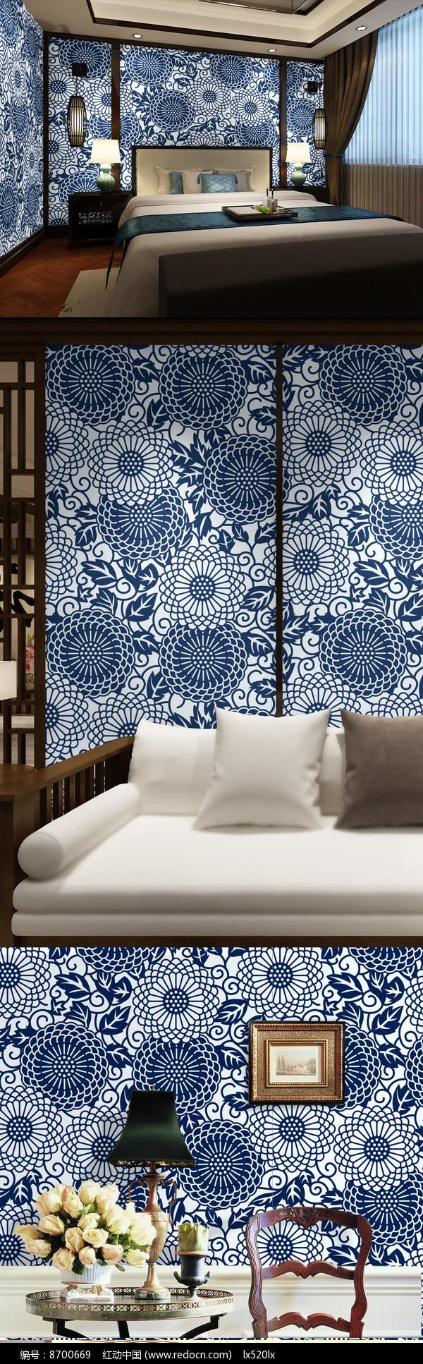 青花瓷图案中式墙纸背景墙图片