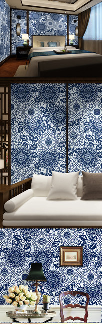 青花瓷图案中式墙纸背景墙