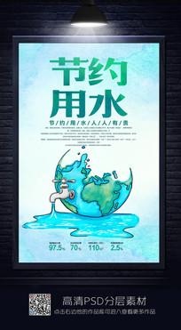 水擦创意节约用水公益海报