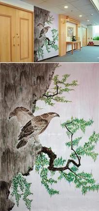 水墨画树枝老鹰背景墙
