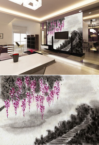 水墨画紫藤花小路背景墙