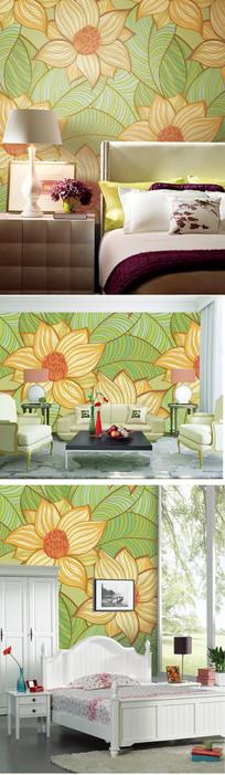 田园花卉图案壁纸墙纸