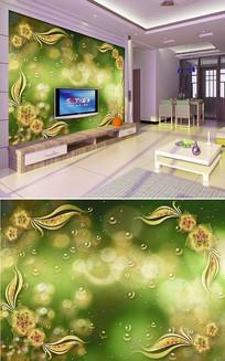 透明花水珠花边背景墙