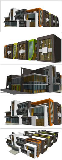 现代风格幼儿园教学楼SU模型 skp