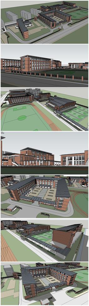 现代中学校园建筑SU模型