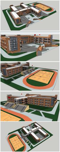 小学校园建筑规划SU模型