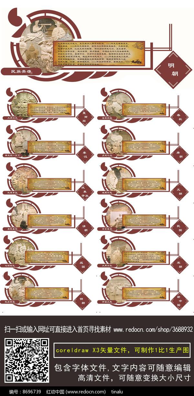 校园中国历史朝代文化墙cdr图片
