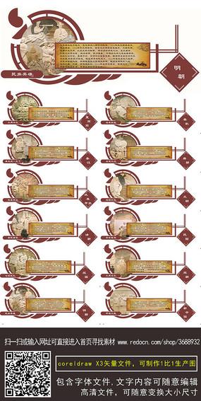 校园中国历史朝代文化墙cdr