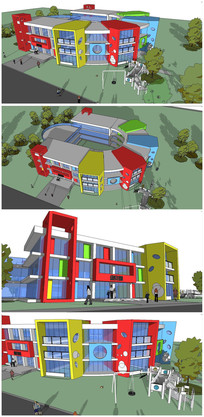 幼儿园建筑整体SU模型