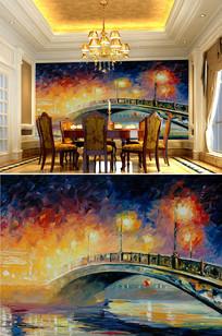 油画大桥背景墙