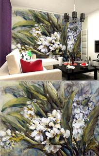 油画花朵花卉背景墙