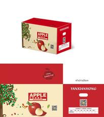 中国风红色苹果包装箱设计