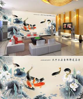中式荷塘荷花鲤鱼背景墙