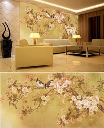 中式花鸟桃花背景墙