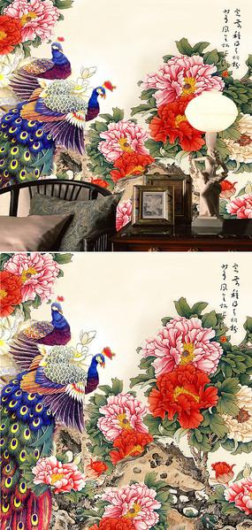 中式牡丹孔雀背景墙