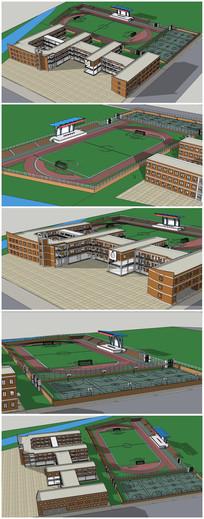 中学校园SU建筑模型 skp