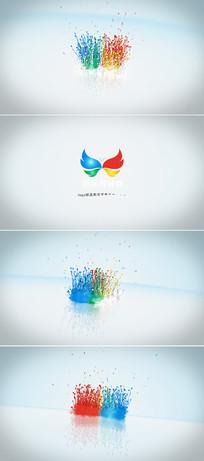 彩色粒子汇聚成企业标志模板