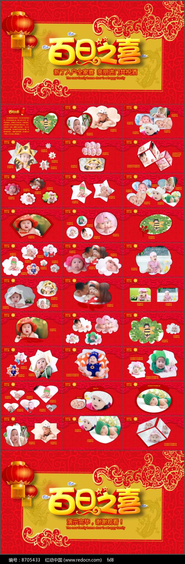 儿童宝贝百日宴满月PPT模板图片