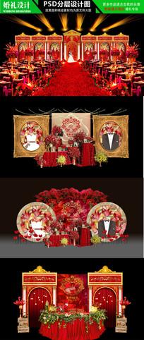 红金色大气雄伟婚礼场景设计