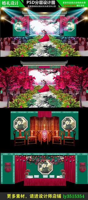 红绿中国风主题婚礼设计