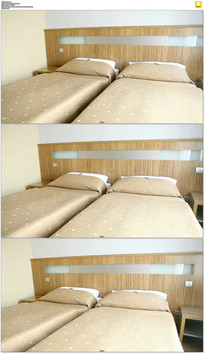 酒店房间床实拍视频素材