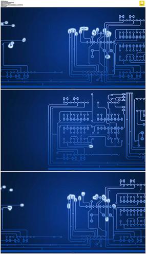 蓝色电路板动画视频素材