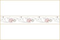 牡丹花线描组合腰花移门图案