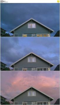 屋顶云雾黑夜白天延时摄影素材