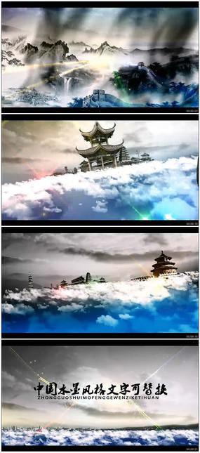 中国风水墨片头ae模版