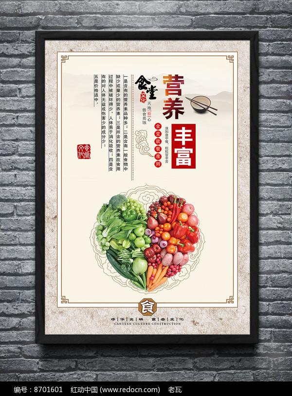 中国风学校食堂文化展板图片