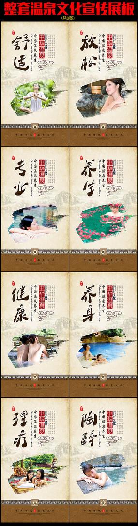 中国风养生温泉医疗保健展板