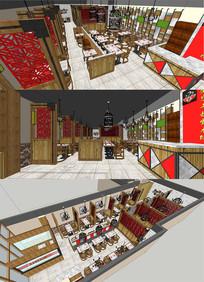 中式餐厅乡村风格餐厅SU模型