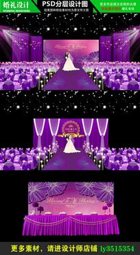 紫色立体婚礼舞台背景设计 PSD