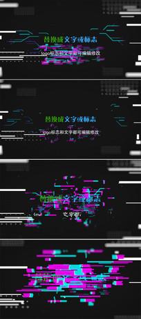 4k故障失真标志文字动画模板