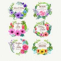 感谢卡水彩花卉标签素材