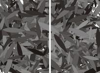 黑白叶子双开移门图案