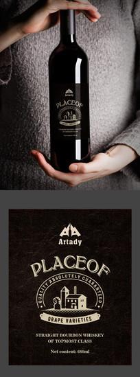 黑色质感简约大气红酒标签