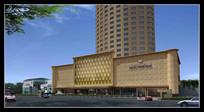 黄色高大酒店建筑物外立面 JPG