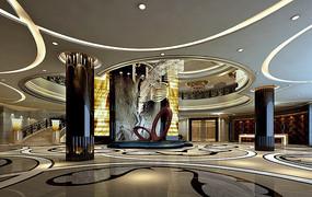酒店古典大堂雕塑效果图