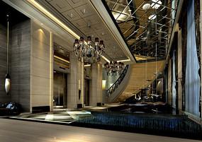 酒店古典电梯厅效果图