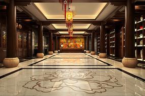 酒店古典中式餐厅大厅效果图