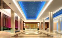 酒店蓝色天花大堂接待台效果图 JPG
