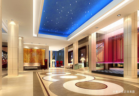 酒店蓝色天花大堂沙发区效果图 JPG