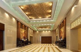 酒店水晶灯宴会厅序厅效果图