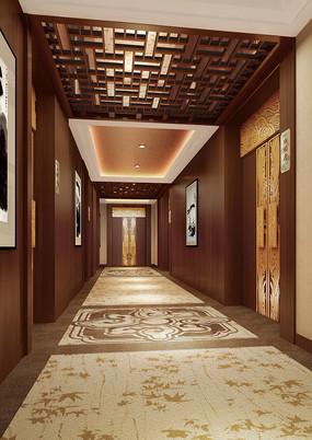 酒店中式餐厅走廊效果图