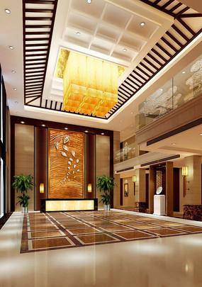 酒店中式大堂效果图