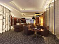 酒店棕色沙发大堂吧效果图