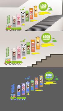 卡通幼儿园楼梯文化墙展板
