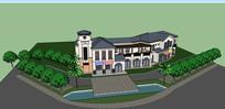 蓝色屋檐仿古商业建筑